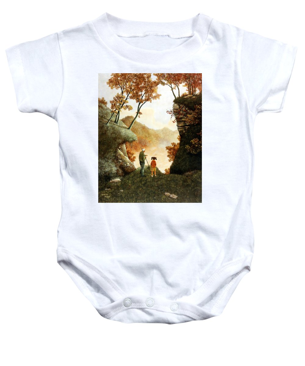 Mountain Baby Onesie featuring the painting Words Of Wisdom by Duane R Probus