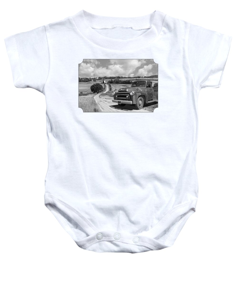 Farm Landscape Baby Onesie featuring the photograph Down On The Farm- International Harvester In Black And White by Gill Billington