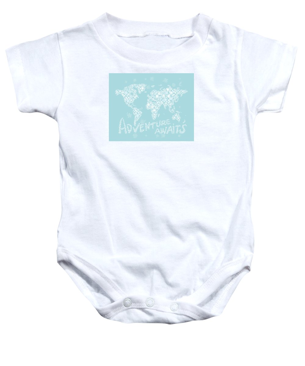 World Map Baby Onesie featuring the digital art World Map White Flowers Aqua Blue by Hieu Tran