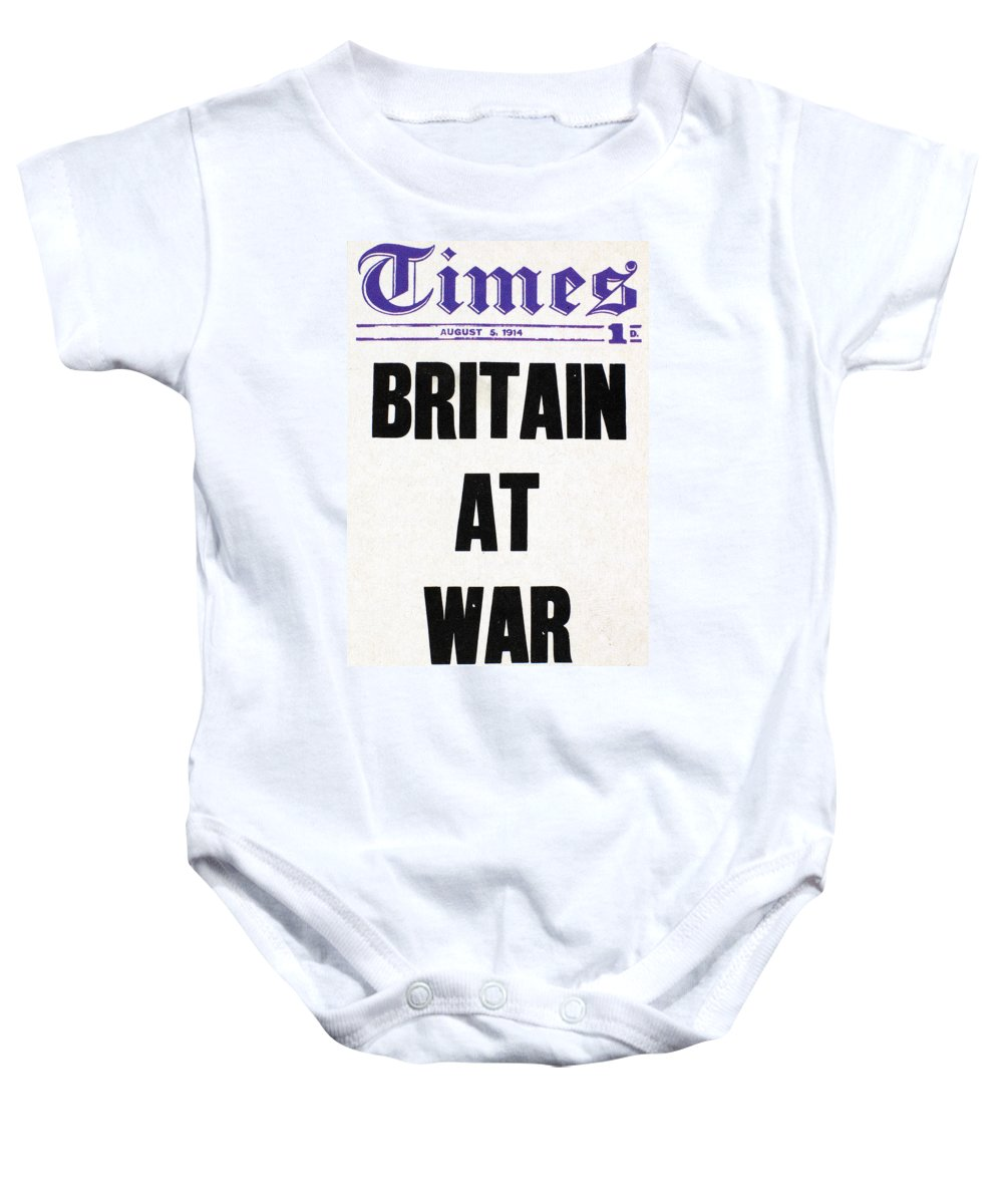1914 Baby Onesie featuring the photograph World War I Headline, 1914 by Granger