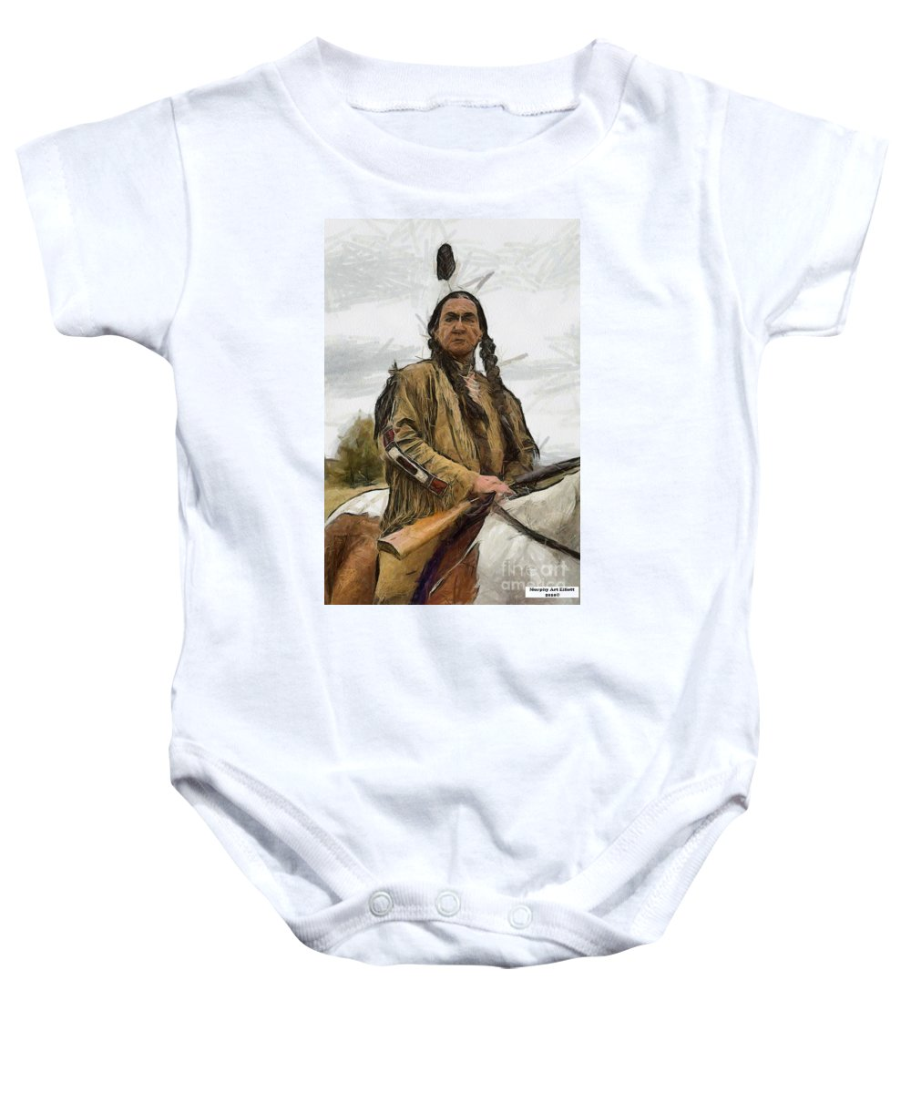 Portrait Baby Onesie featuring the painting Wounded Knee by Murphy Elliott