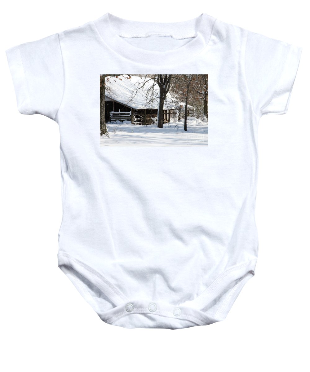 Rural Baby Onesie featuring the photograph Wrapped In Silence by Amanda Barcon