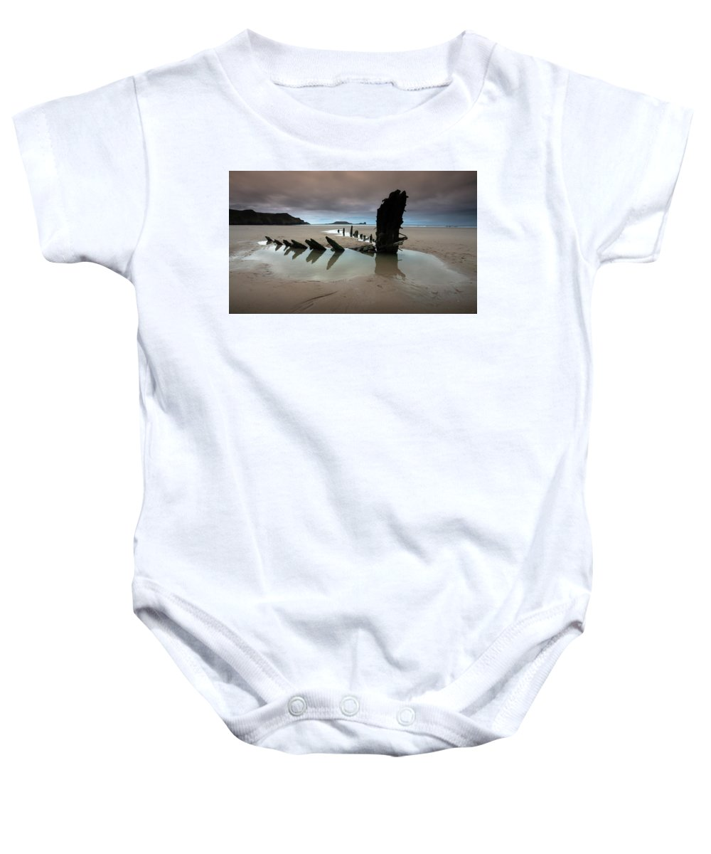 Rhossili Bay Baby Onesie featuring the photograph Wreck Of Helvetia by Leighton Collins