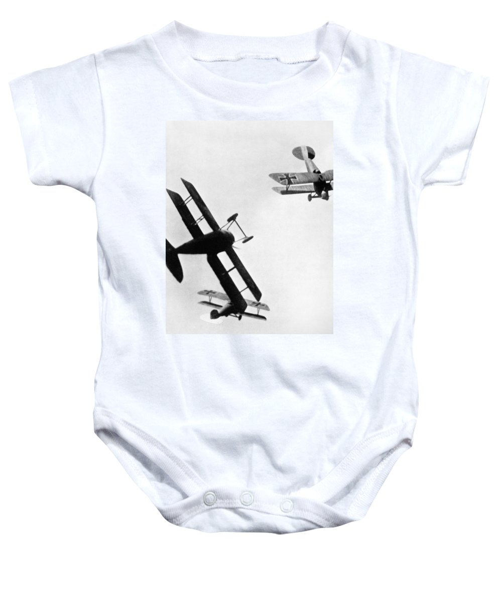 1914 Baby Onesie featuring the photograph Wwi: Dogfight by Granger