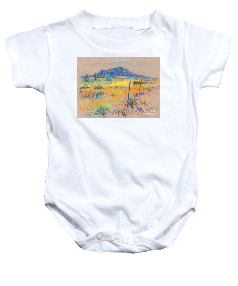 Pastel Baby Onesie featuring the painting Wyoming Roadside by Donald Maier
