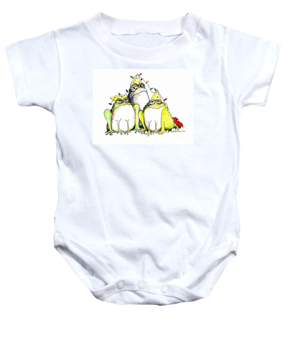 Christmas Card Baby Onesie featuring the greeting card Xmas Lights by Pat Saunders-White