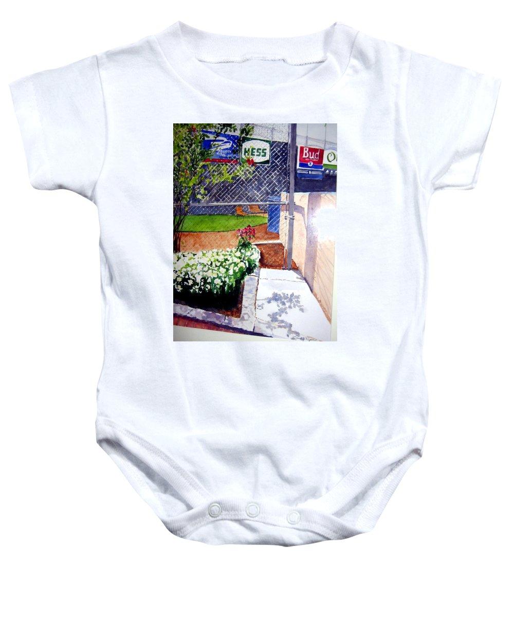 Ballpark Baby Onesie featuring the painting Yankee Stadium by Sandy Ryan