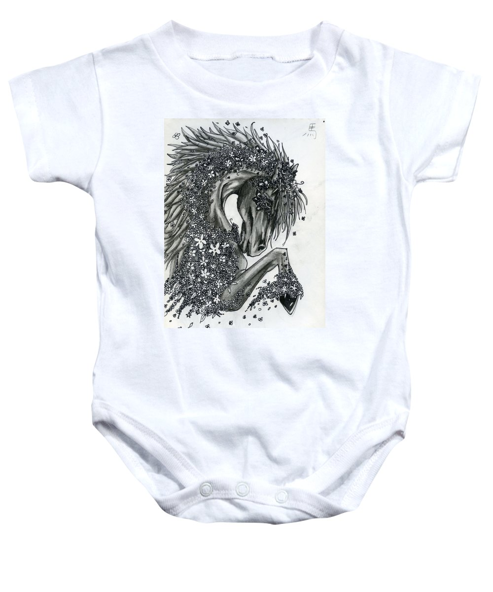 Horse Baby Onesie featuring the drawing Year Of The Horse by Kita Liosatos