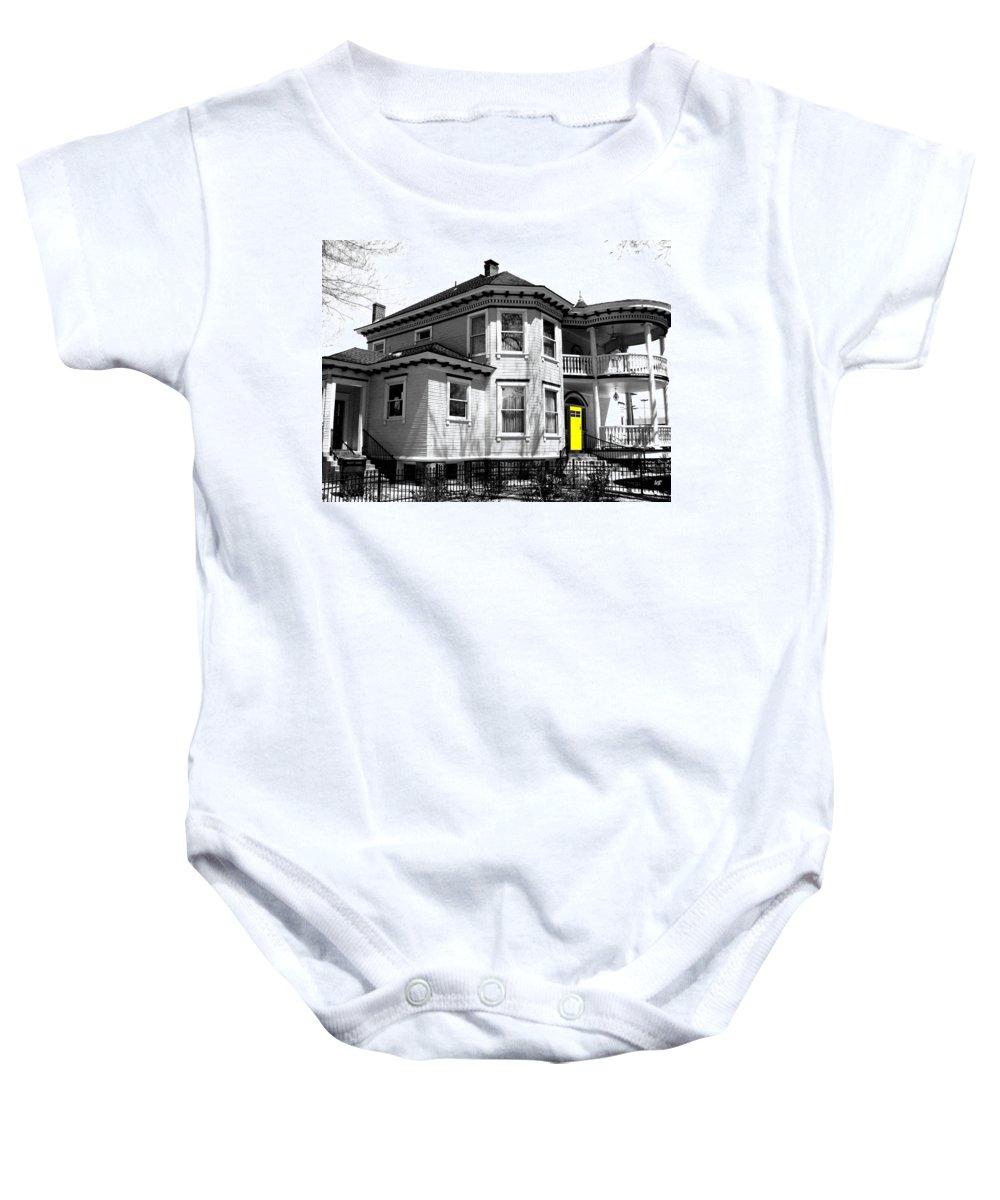 House Baby Onesie featuring the digital art Yellow Door by Will Borden