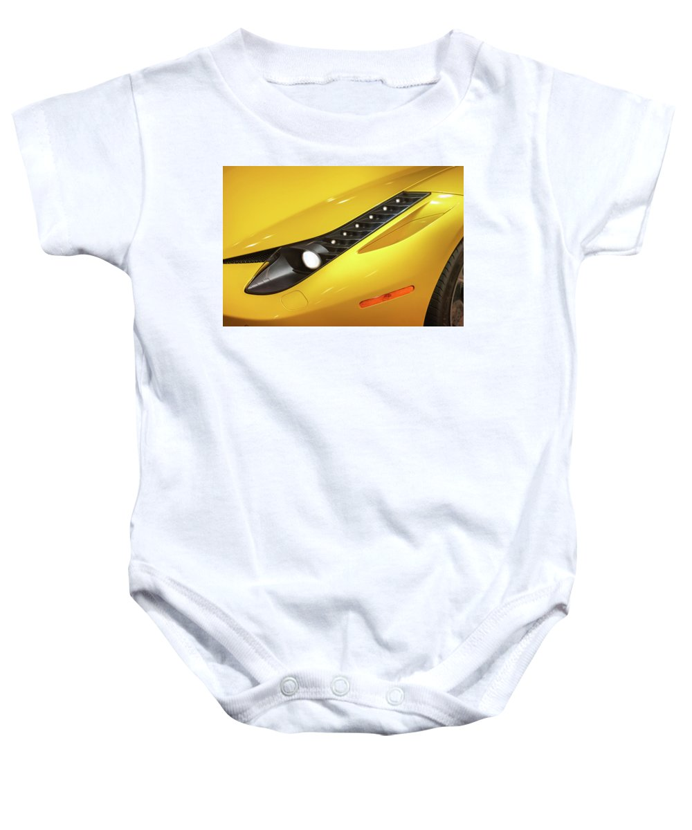 Yellow Baby Onesie featuring the photograph Yellow Ferrari 2013 by Mike Penney