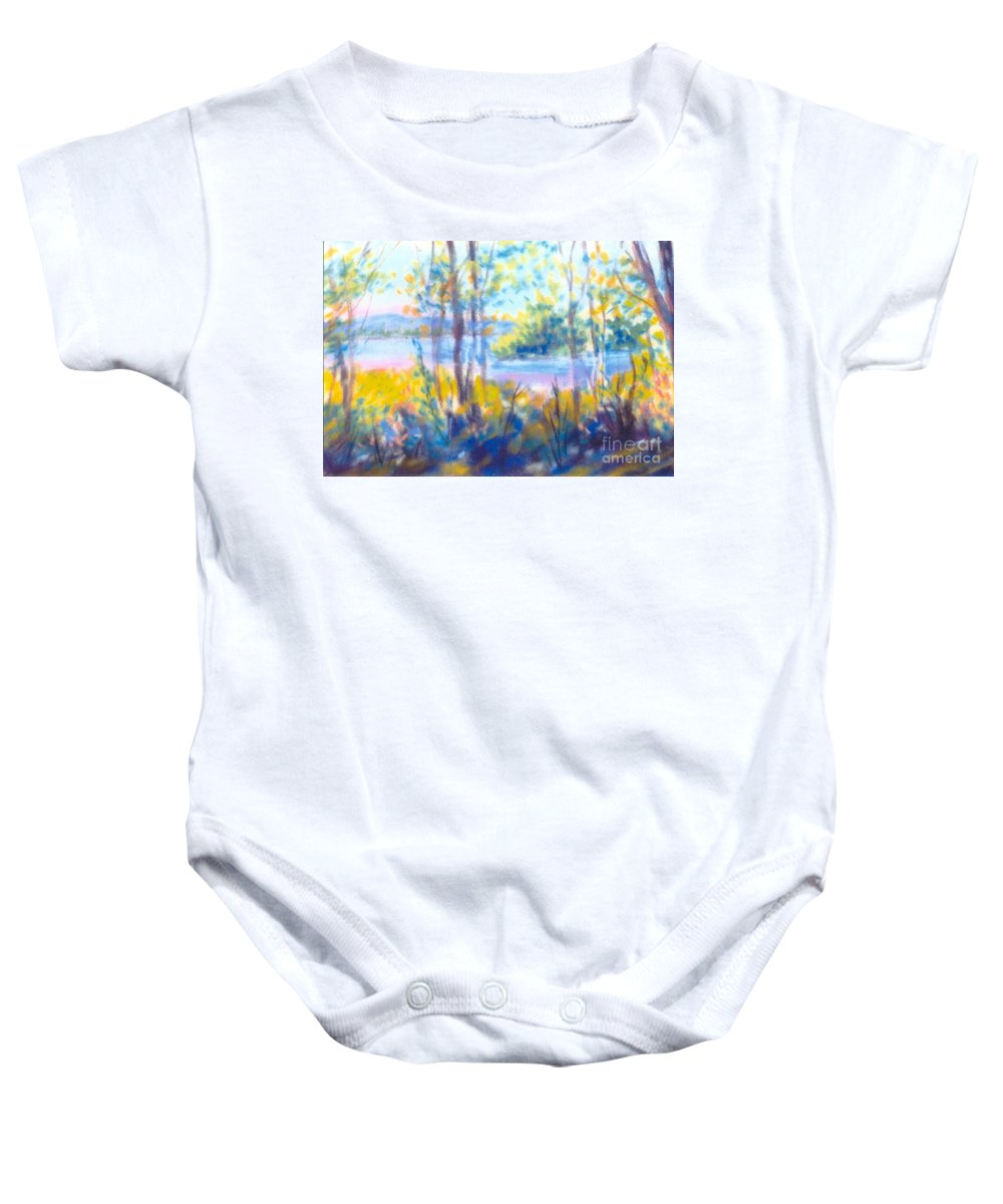 Water Baby Onesie featuring the painting Yellow Flowers by Sandy Sereno
