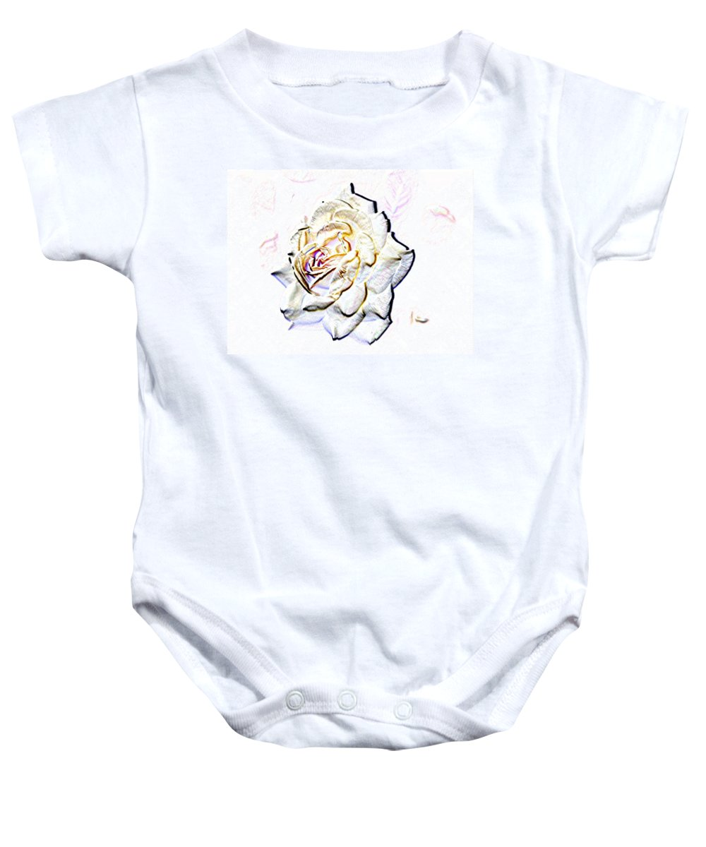 Rose Baby Onesie featuring the digital art Yellow Rose by Tim Allen