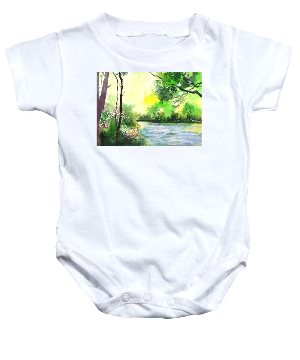 Sky Baby Onesie featuring the painting Yellow Sky by Anil Nene