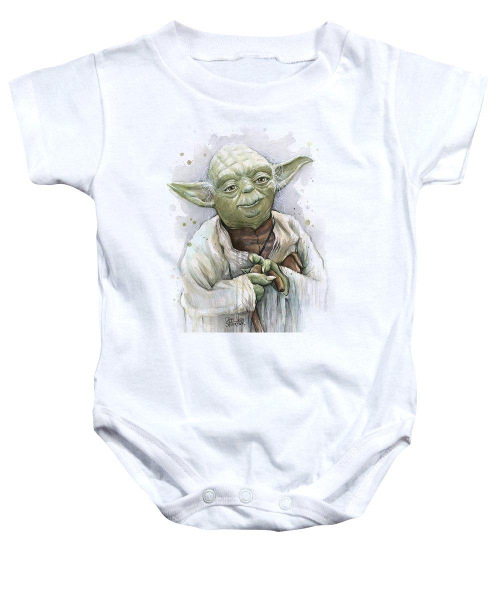 Yoda Baby Onesie featuring the painting Yoda by Olga Shvartsur