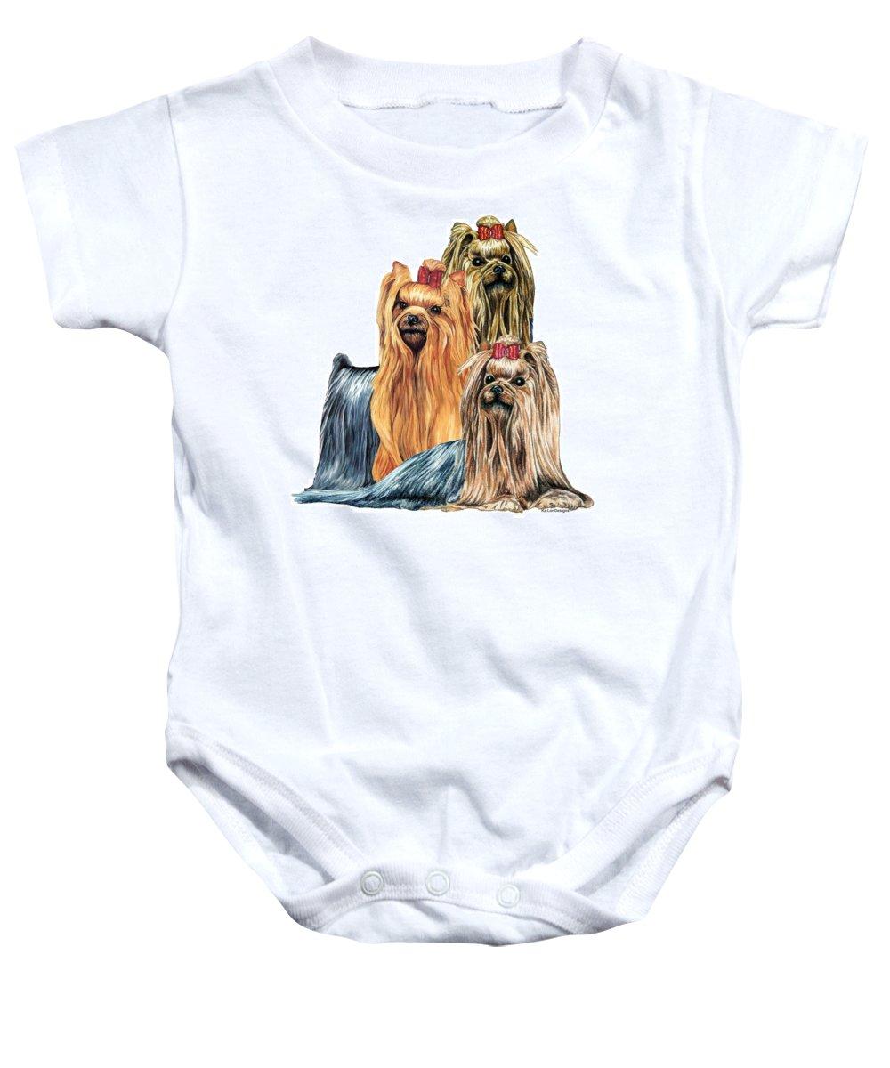 Yorkshire Terrier Baby Onesie featuring the drawing Yorkshire Terriers by Kathleen Sepulveda