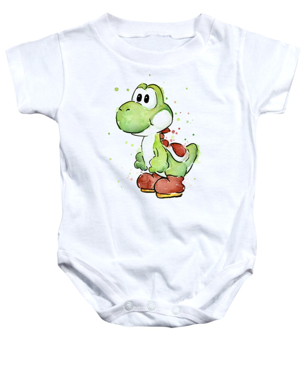 Watercolor Baby Onesie featuring the painting Yoshi Watercolor by Olga Shvartsur