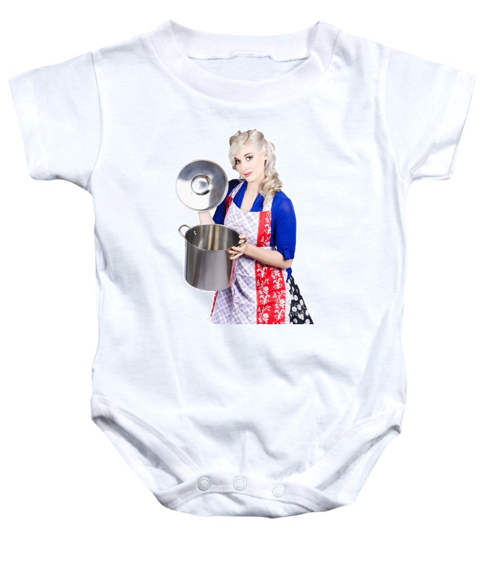 Woman Baby Onesie featuring the photograph Young Housewife Lifting Lid On A Home Cooking Pot by Jorgo Photography - Wall Art Gallery