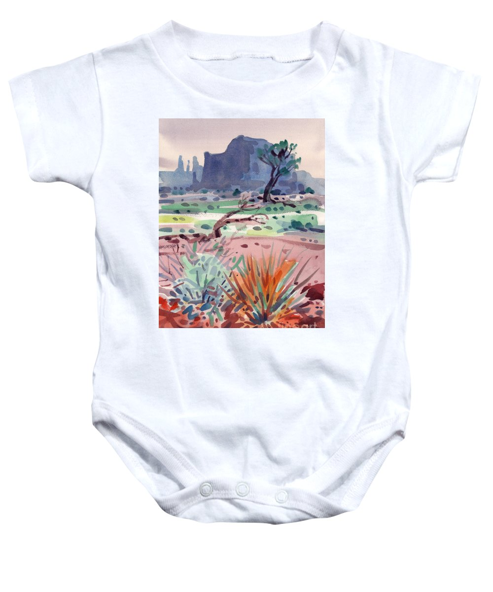 Monument Valley Baby Onesie featuring the painting Yucca And Buttes by Donald Maier