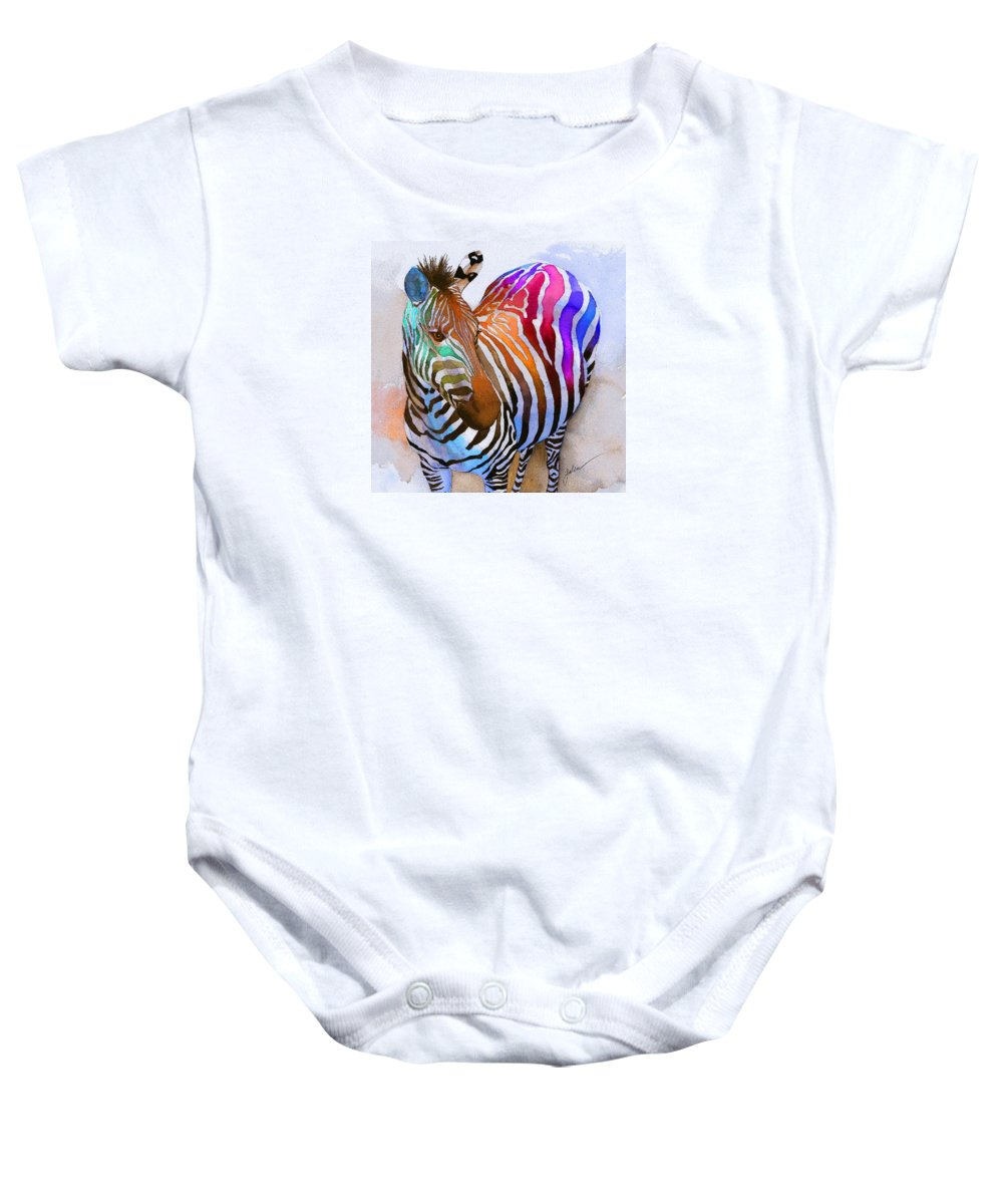 Colorful Baby Onesie featuring the painting Zebra Dreams by Galen Hazelhofer