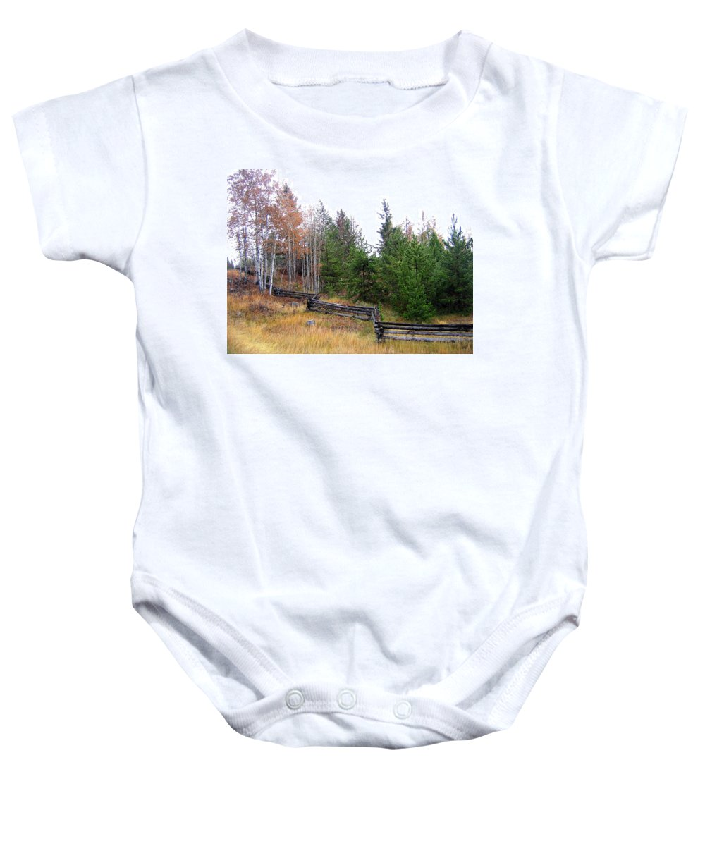 Zigzag Rail Fence Baby Onesie featuring the photograph Zigzag Rail Fence by Will Borden