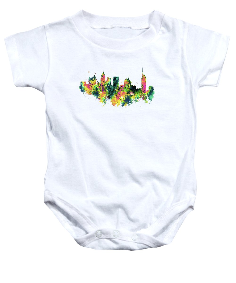 Atlanta Baby Onesie featuring the painting Atlanta Watercolor Skyline by Marian Voicu