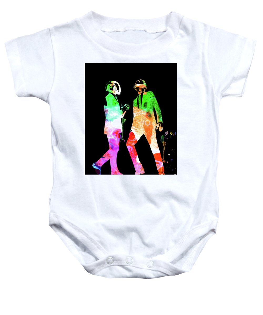 Daft Punk Baby Onesie featuring the mixed media Daft Punk Watercolor 1 by Naxart Studio