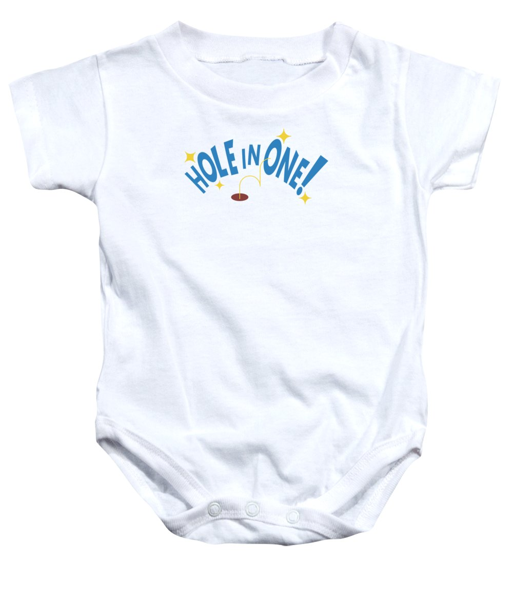 Gift Baby Onesie featuring the mixed media Hole In One Golfing Passion Grandad Parents For Everyone by Cameron Fulton