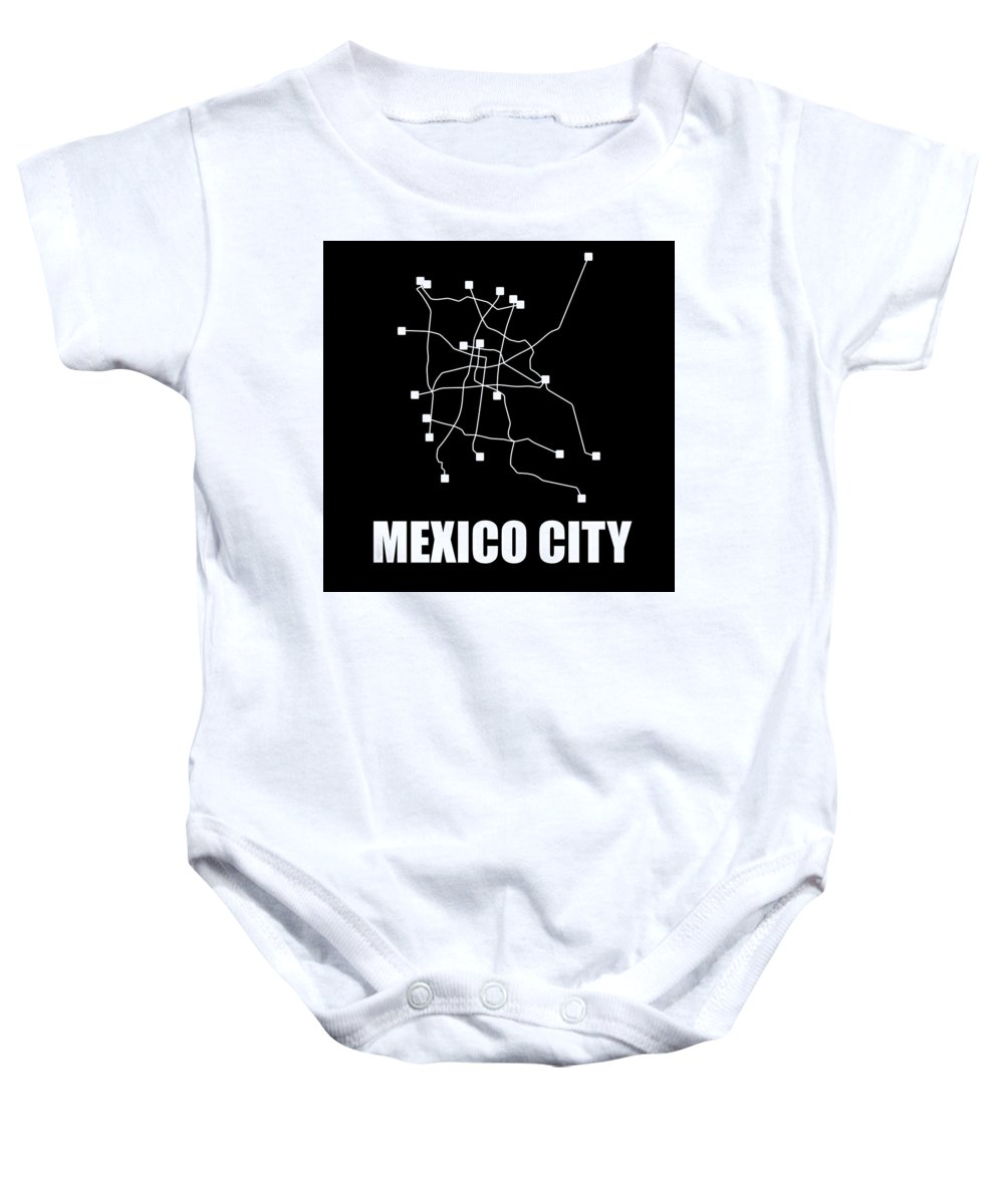 Mexico City Baby Onesie featuring the digital art Mexico City Black Subway Map 1 by Naxart Studio