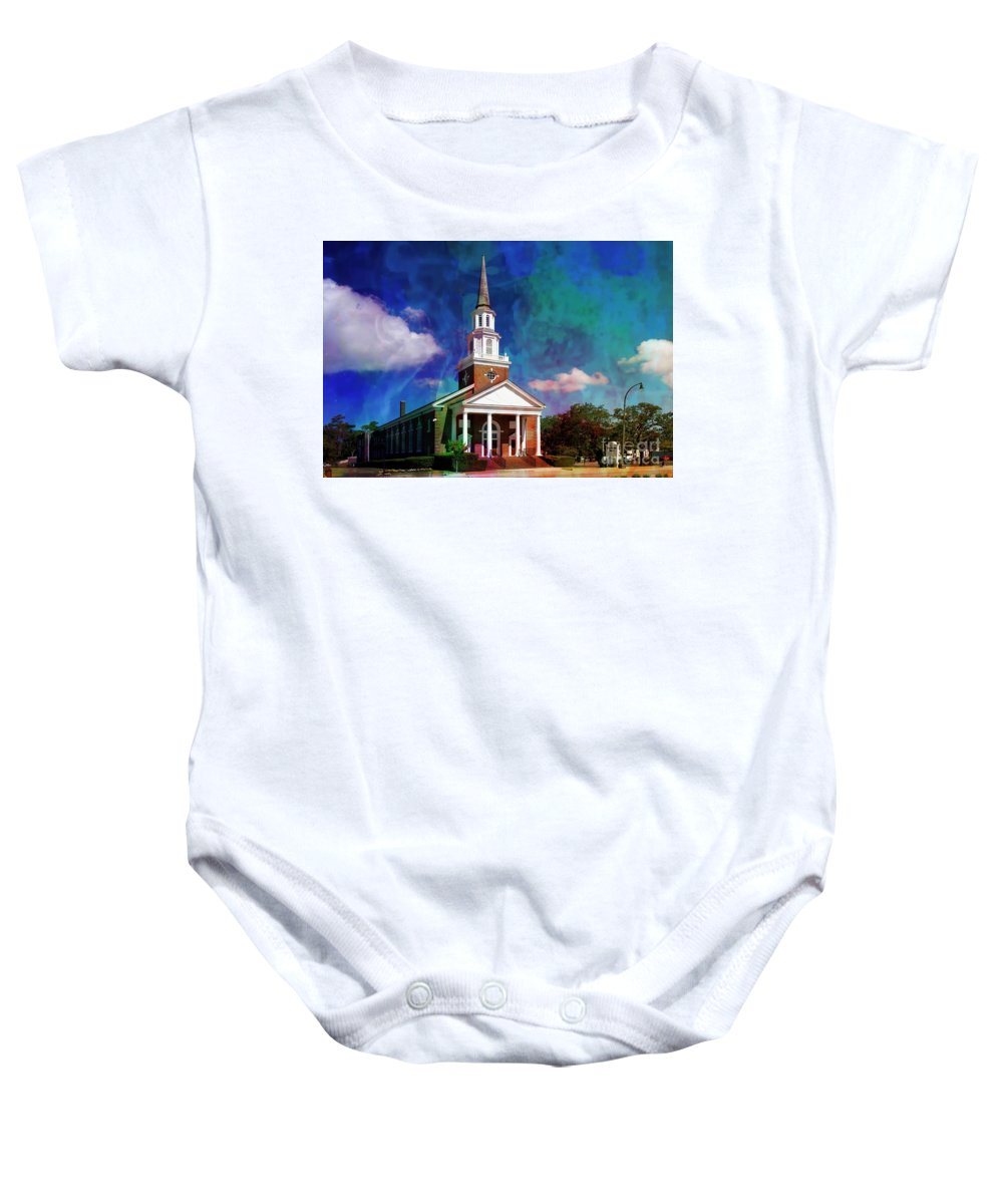First Baptist Church Baby Onesie featuring the mixed media First Baptist Church Myrtle Beach S C by Bob Pardue