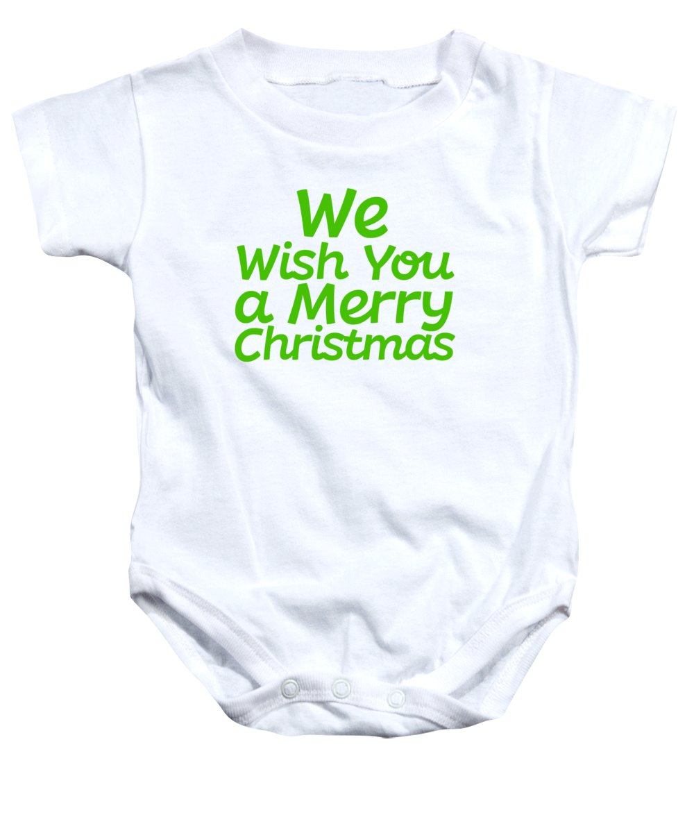 Christmas Baby Onesie featuring the mixed media We Wish You A Merry Christmas Secret Santa Love Christmas Holiday by Cameron Fulton