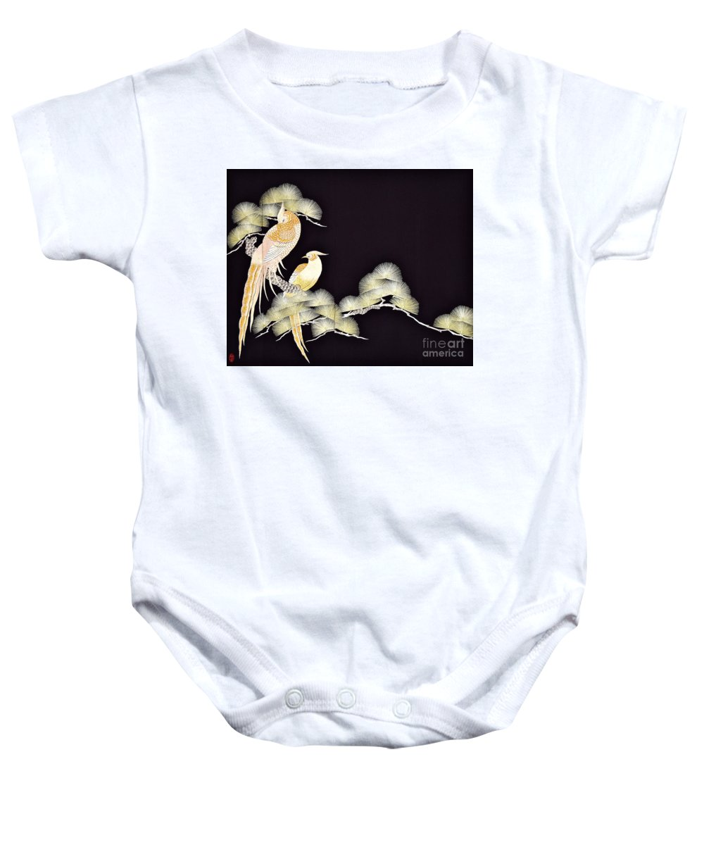 Baby Onesie featuring the tapestry - textile Spirit of Japan T56 by Miho Kanamori