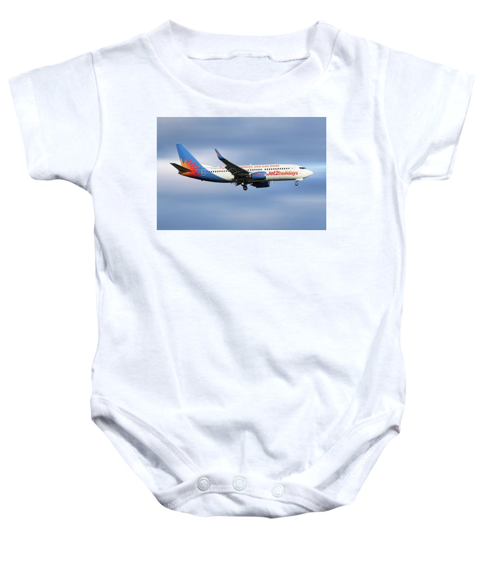Jet2 Baby Onesie featuring the mixed media Jet2 Boeing 737-33v by Smart Aviation