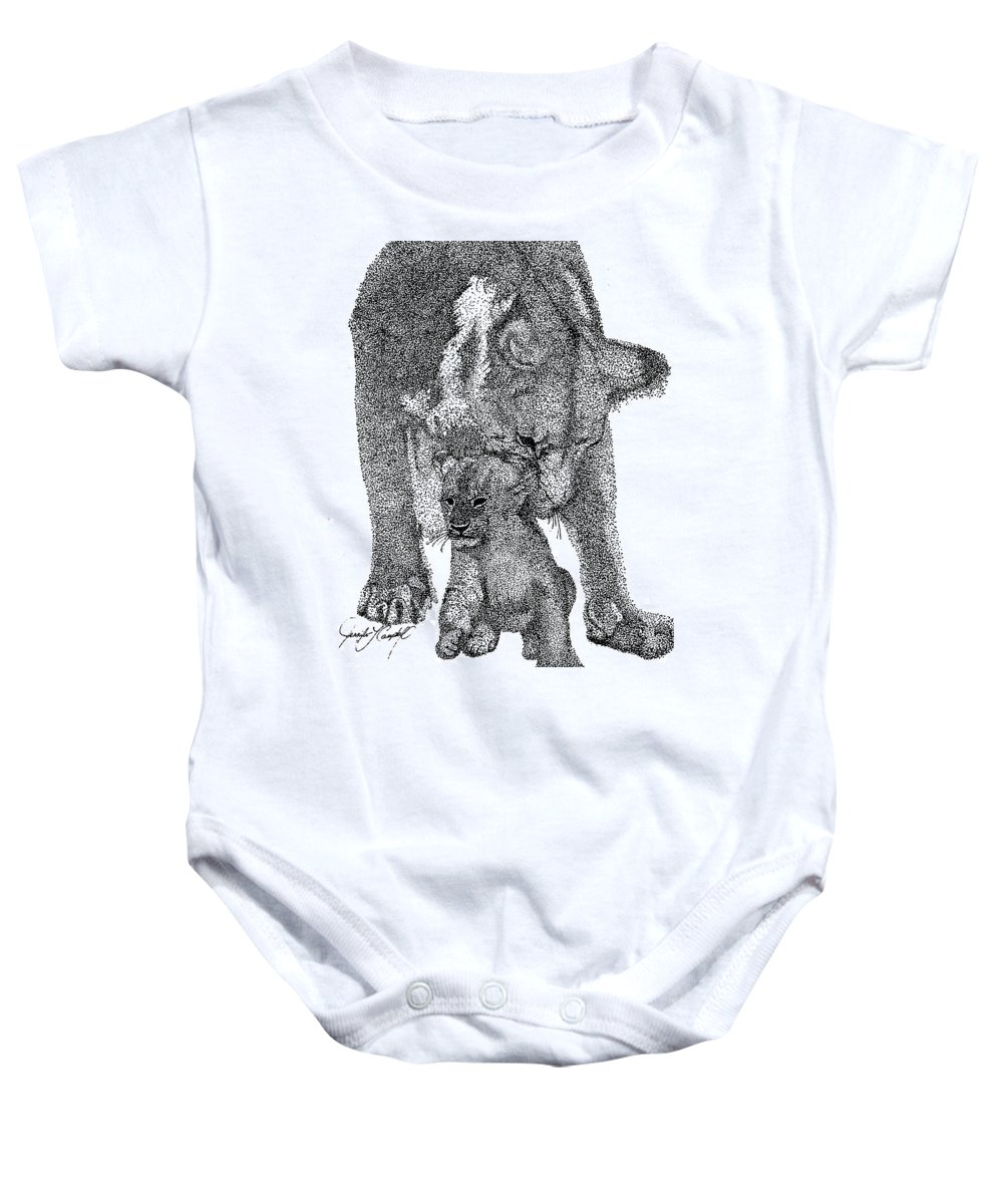 Jennifer Campbell Brewer Baby Onesie featuring the drawing A Little Behind The Ear by Jennifer Campbell Brewer