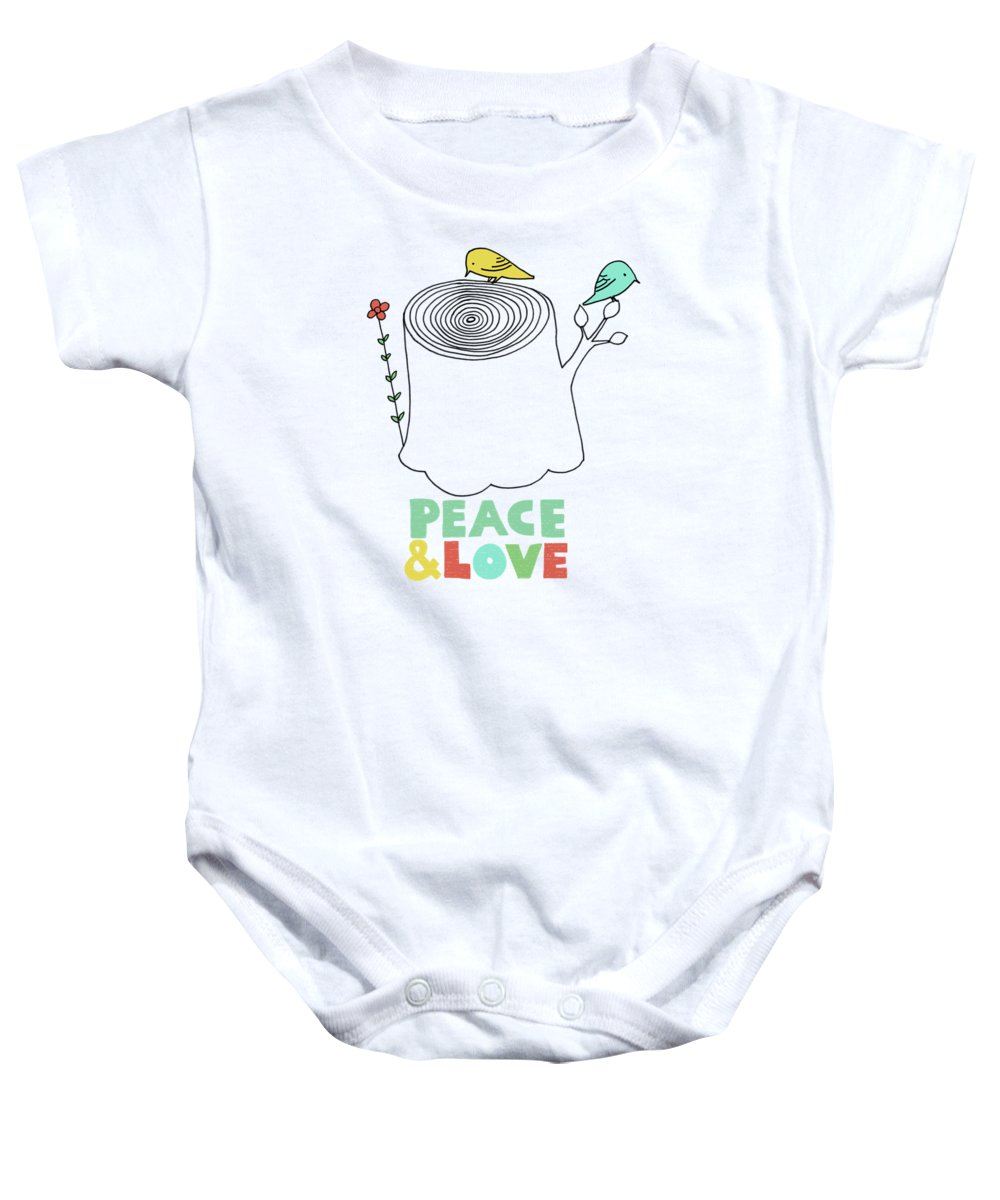 Birds Baby Onesie featuring the drawing Peace and Love by Eric Fan