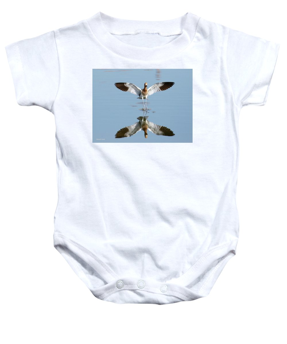 Birds Baby Onesie featuring the photograph Avocet Landing by Michael B Smith
