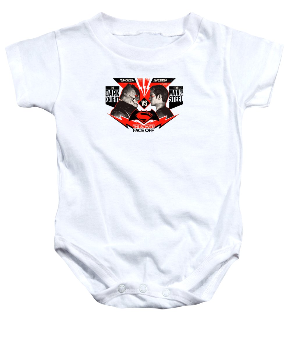 Batman Superman Baby Onesie featuring the digital art Batman Superman by Geek N Rock