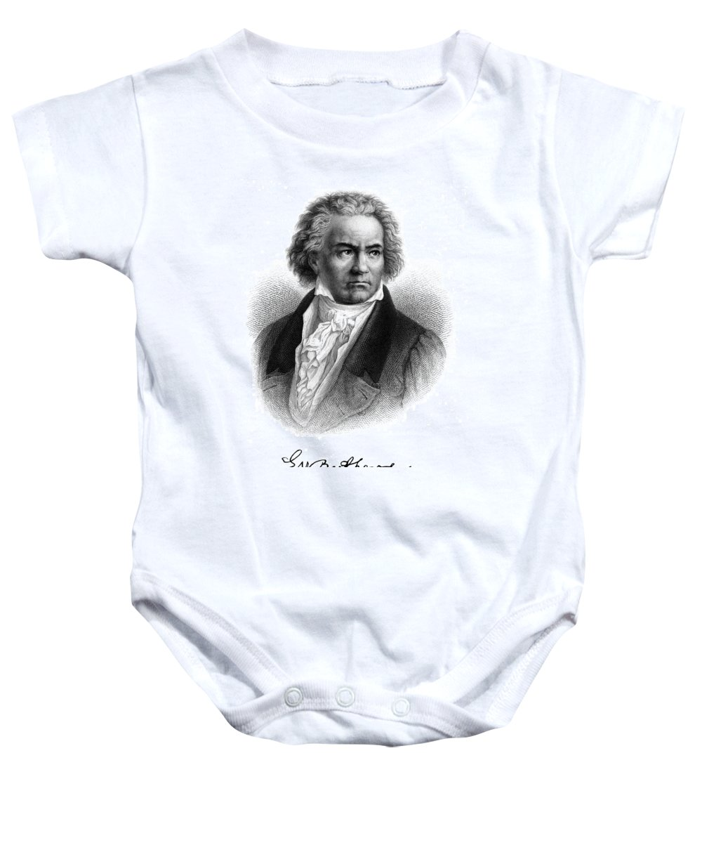 Beethoven Baby Onesie featuring the painting Beethoven by Copperplate