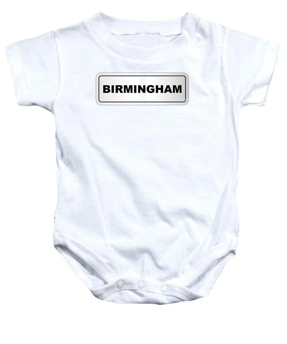 Birmingham Baby Onesie featuring the digital art Birmingham City Nameplate by Bigalbaloo Stock