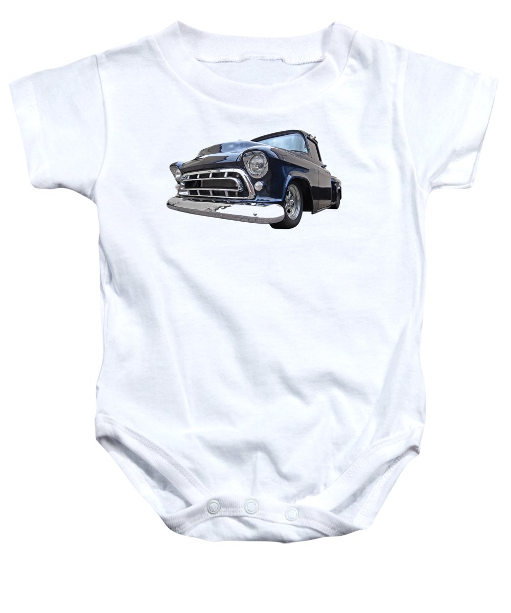 Chevrolet Truck Baby Onesie featuring the photograph Blue 57 Stepside Chevy by Gill Billington