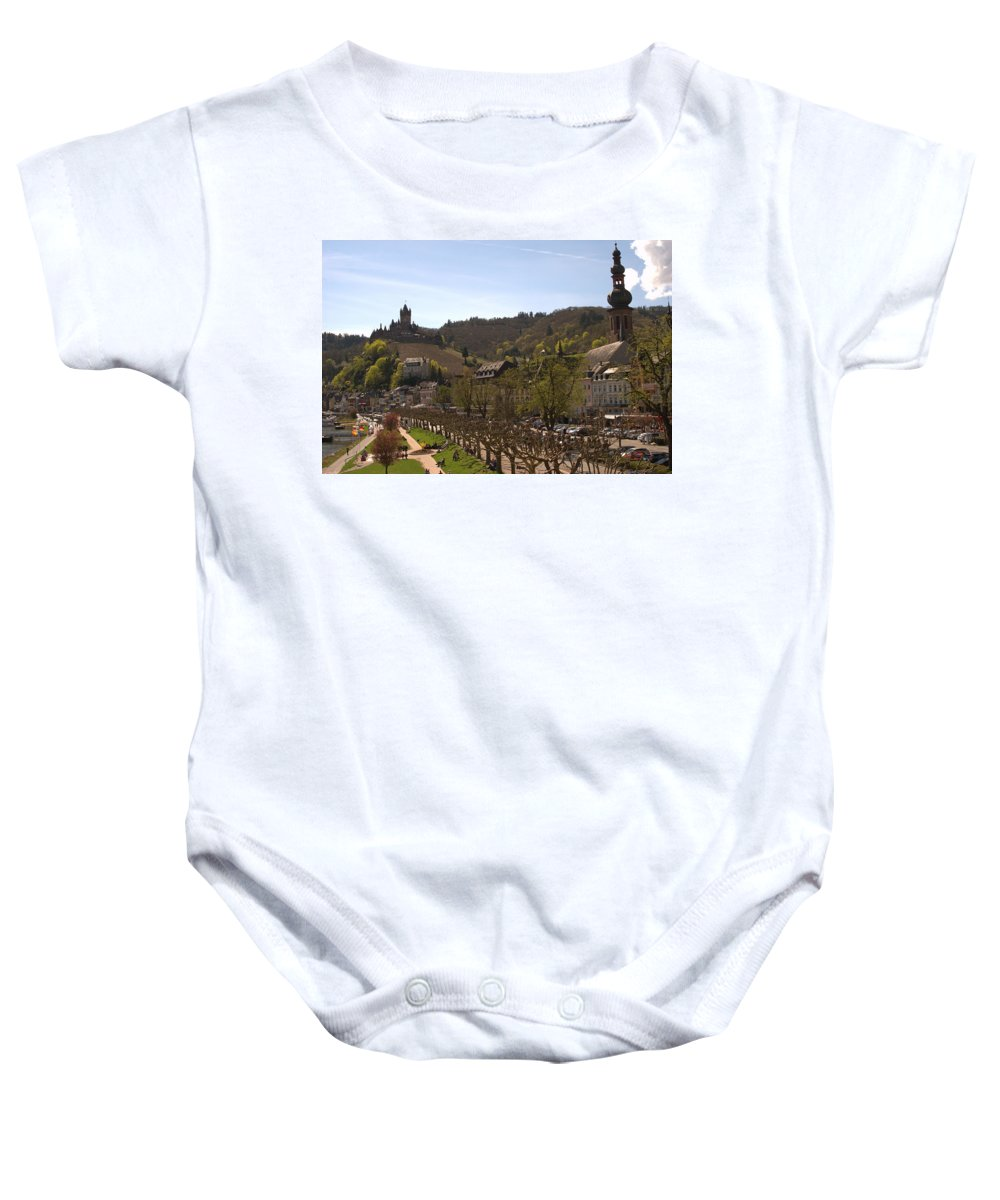 Castle Baby Onesie featuring the photograph Cochem Castle And Town On Mosel In Germany by Victor Lord Denovan