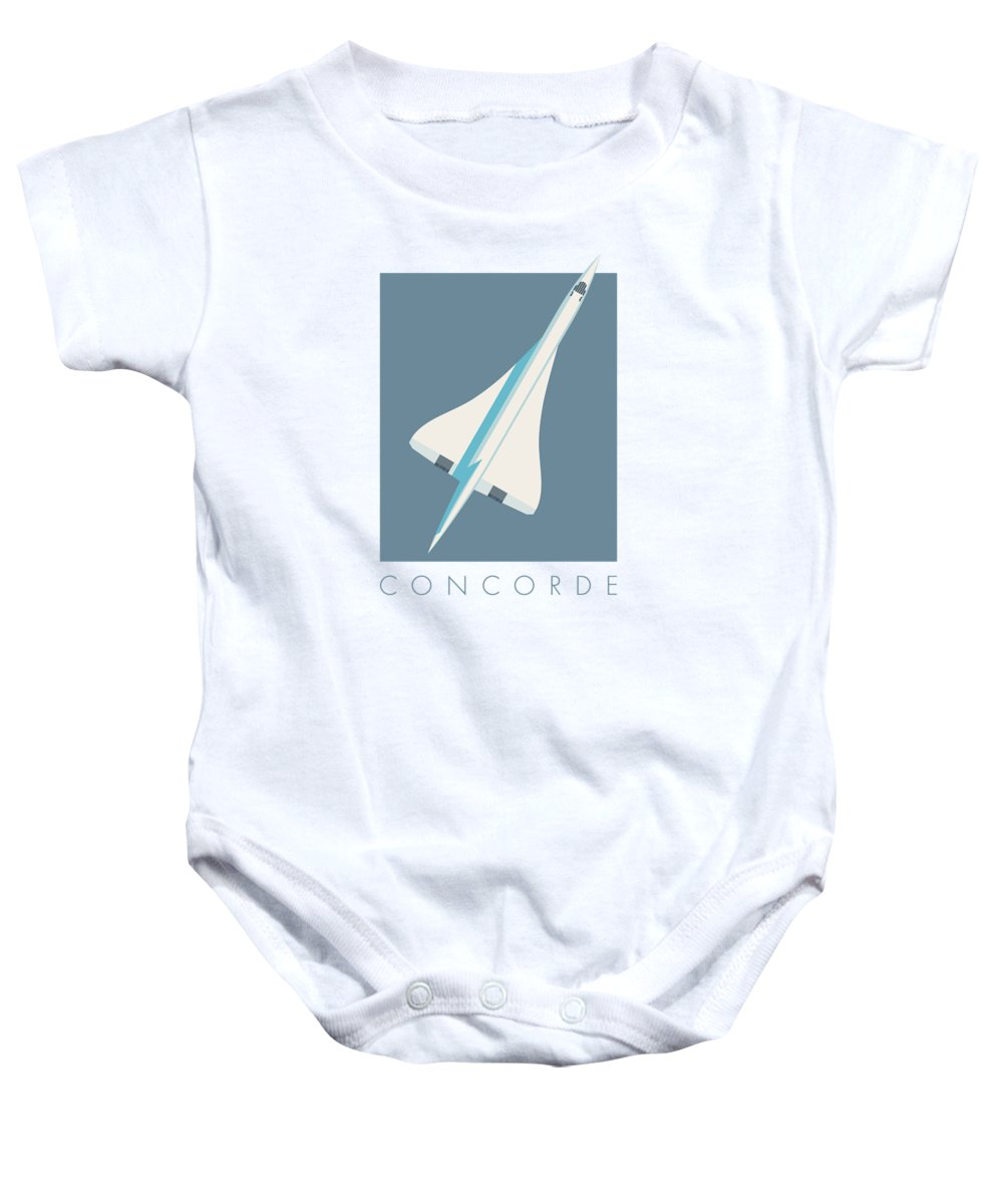 Concorde Baby Onesie featuring the digital art Concorde Jet Passenger Airplane Aircraft - Slate by Ivan Krpan