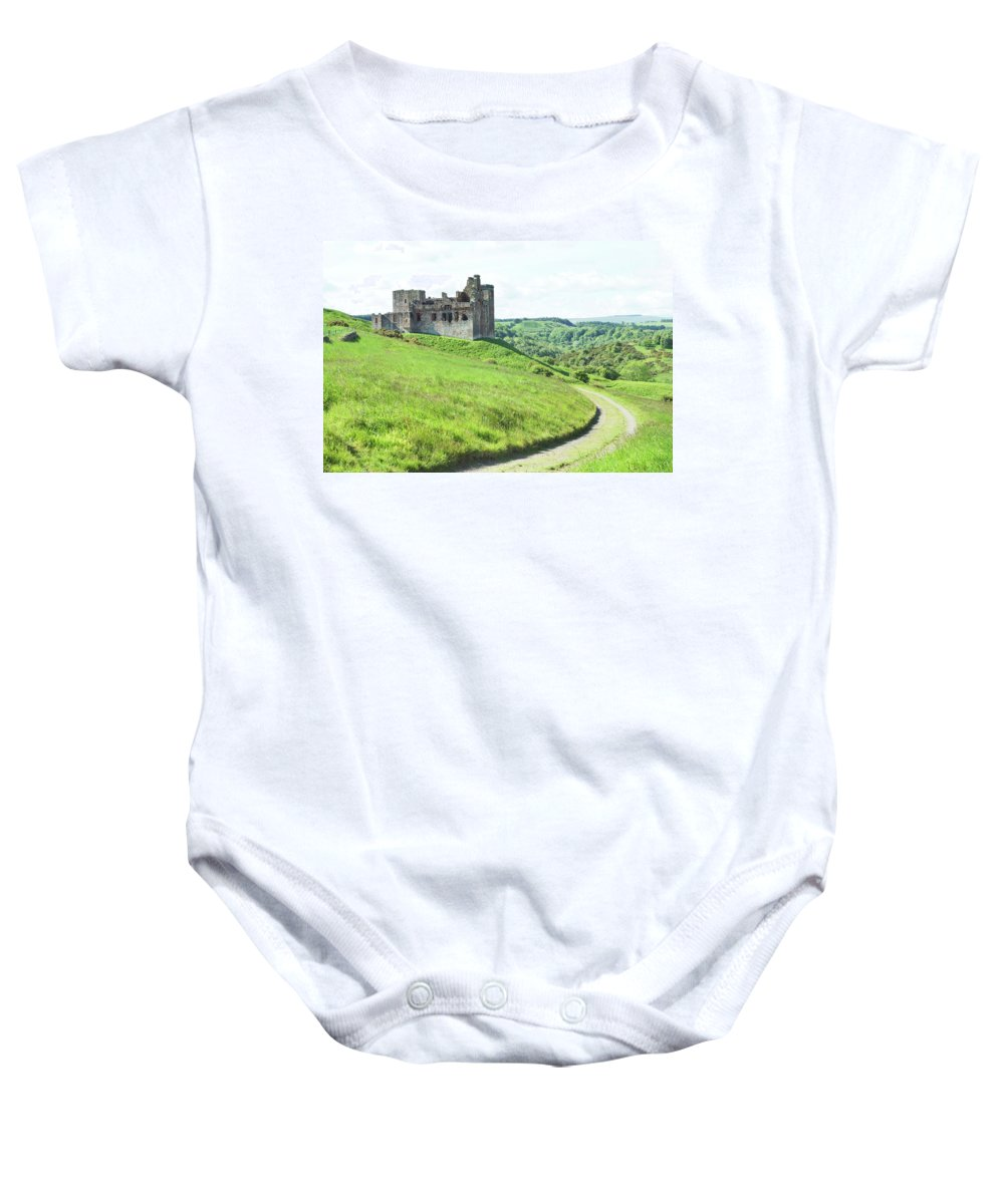 Castle Baby Onesie featuring the photograph Crighton Castle Ruins, Midlothian by Victor Lord Denovan