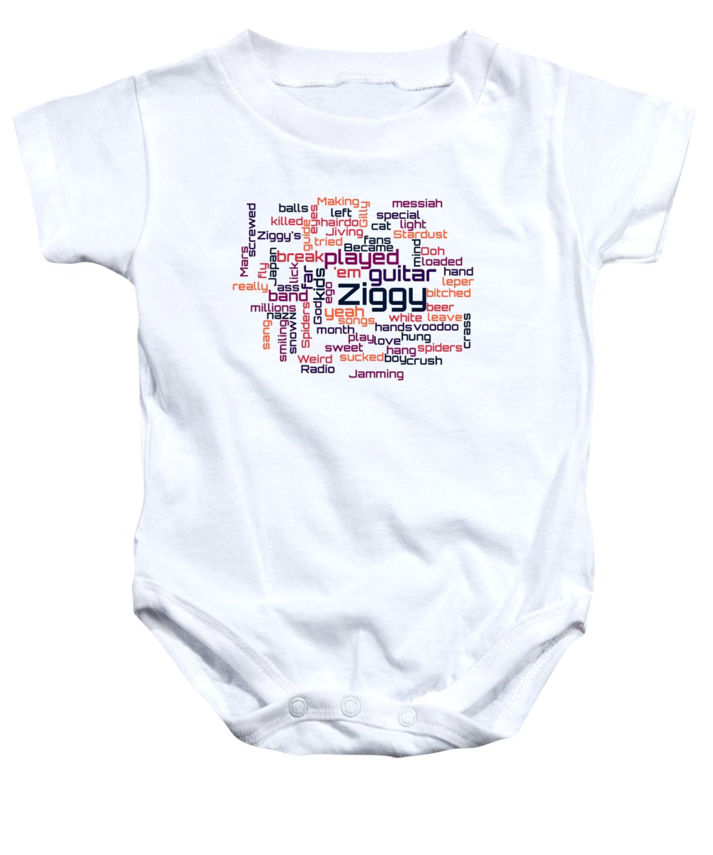 1d27147ea David Bowie Baby Onesie featuring the digital art David Bowie - Ziggy  Stardust Lyrical Cloud by