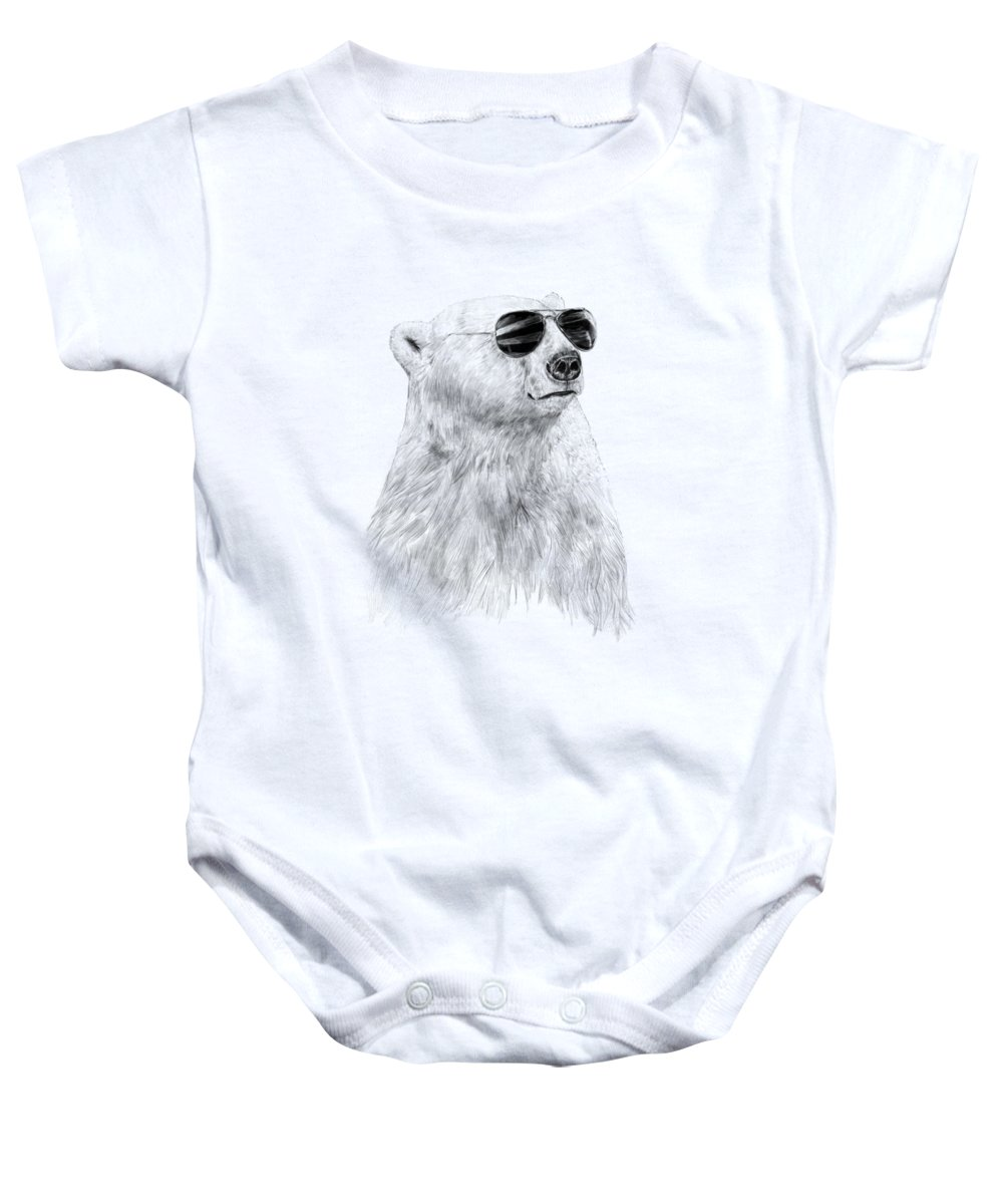 Polar Bear Baby Onesie featuring the drawing Don't Let The Sun Go Down by Balazs Solti