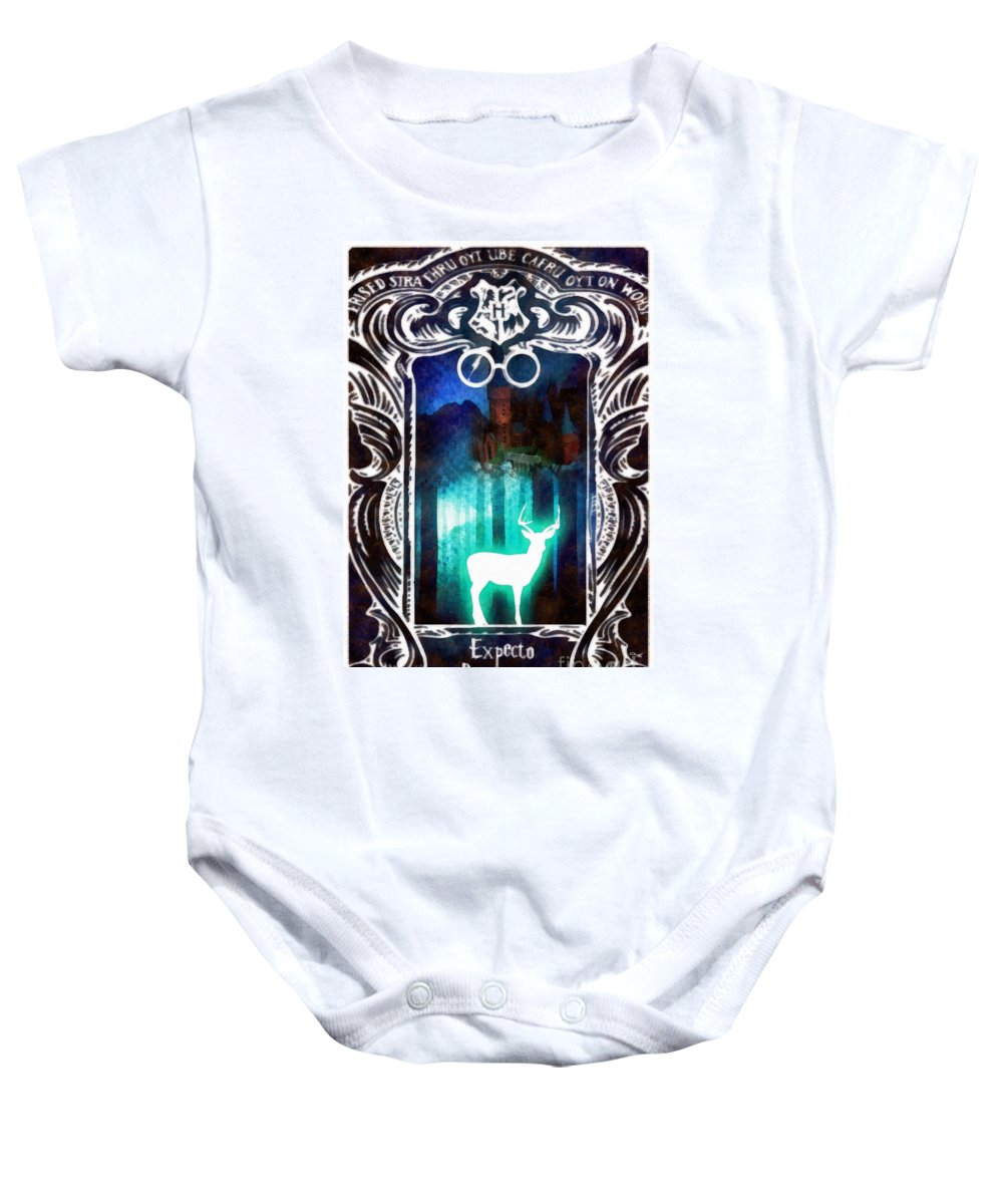 Expecto Patronum Baby Onesie featuring the mixed media Expecto Patronum by Mo T