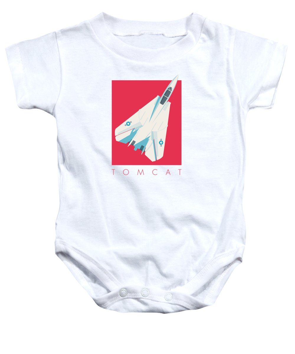 Jet Baby Onesie featuring the digital art F14 Tomcat Fighter Jet Aircraft - Crimson by Ivan Krpan