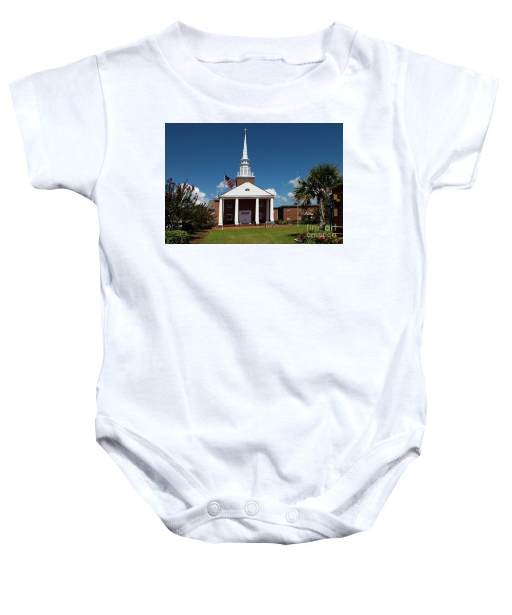 First Baptist Church Baby Onesie featuring the photograph First Baptist Church North Myrtle Beach S C by Bob Pardue