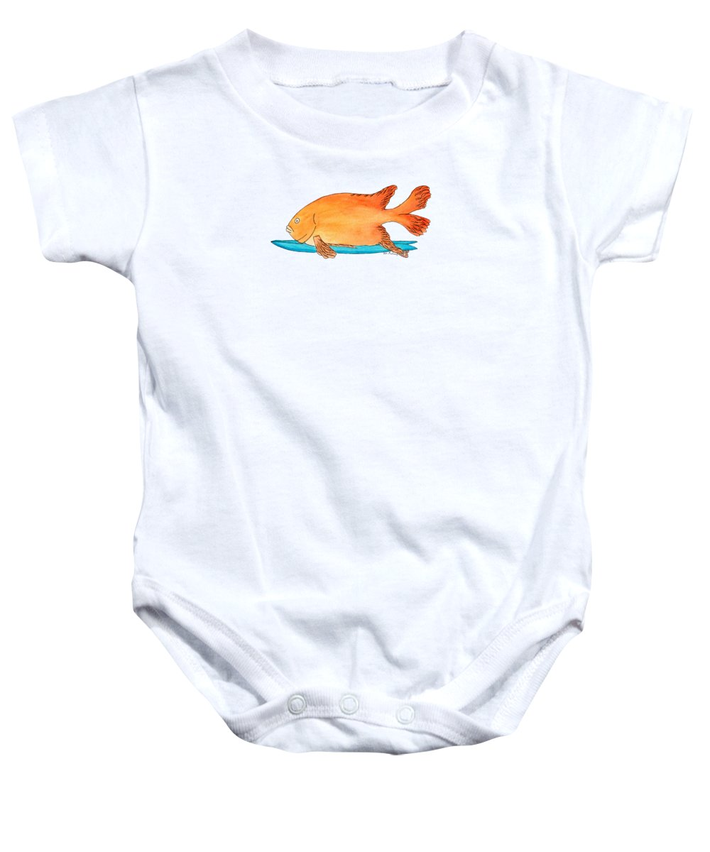 California Baby Onesie featuring the painting Fish On A Fish by Tate MacDowell