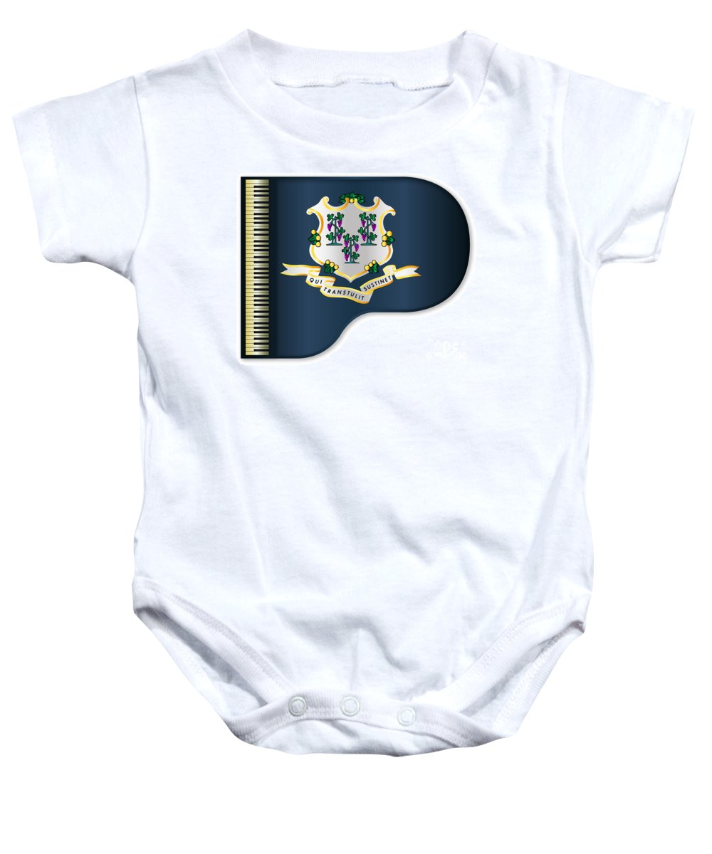 Grand Baby Onesie featuring the digital art Grand Piano Connnecticut Flag by Bigalbaloo Stock