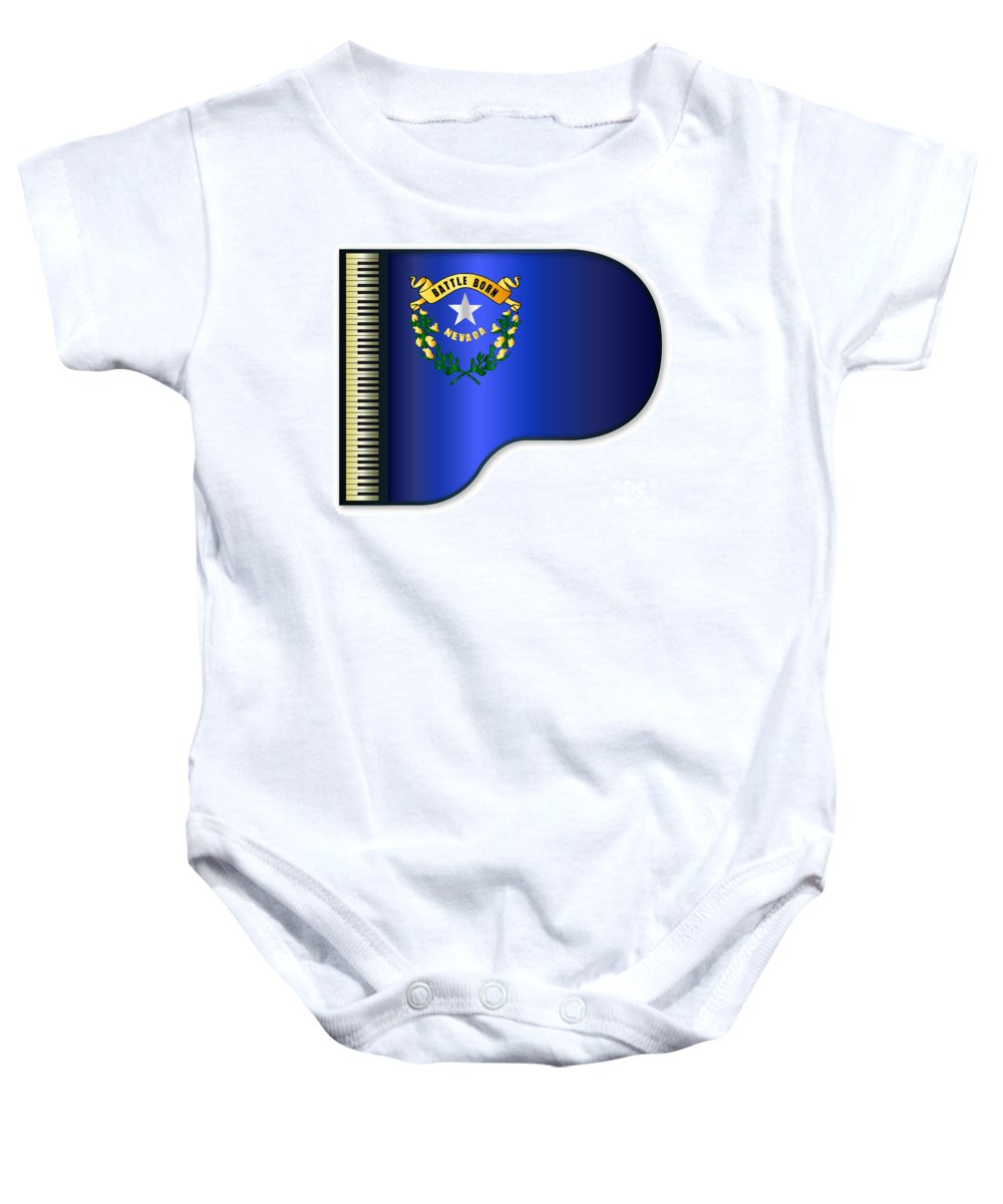 Grand Baby Onesie featuring the digital art Grand Piano Nevada Flag by Bigalbaloo Stock
